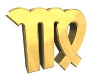 Símbolo da astrologia do Virgo no ouro (3d) Imagem de Stock Royalty Free