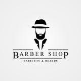 Símbolo da barbearia Barbas da American National Standard dos cortes de cabelo Vetor Fotos de Stock Royalty Free