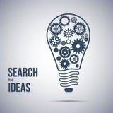 Símbolo da busca da ideia Ampola com rodas denteadas Imagens de Stock Royalty Free