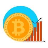 Símbolo da carta de crescimento de Bitcoin Imagem de Stock
