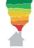 Símbolo da casa com a escala de desempenho da energia Imagens de Stock Royalty Free