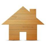 Símbolo da casa da madeira no fundo branco ilustração royalty free