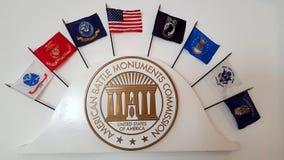 Símbolo da comissão americana dos monumentos da batalha em Florence American Cemetery e no memorial, Florença, Toscânia, Itália foto de stock