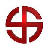 Símbolo da cruz do sol do rubi isolado no branco. Imagens de Stock Royalty Free