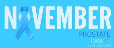 Símbolo da fita azul para o mês da conscientização do câncer da próstata Vetor b Imagens de Stock