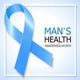 Símbolo da fita azul para o mês da conscientização do câncer da próstata Vetor b Fotos de Stock