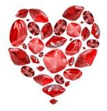 Símbolo da forma do coração das gemas vermelhas do rubi no branco Imagem de Stock