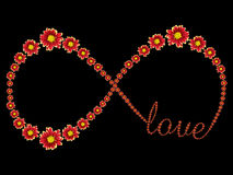 Símbolo da infinidade da flor vermelha isolado no preto Salvar com trajeto de grampeamento Imagens de Stock Royalty Free
