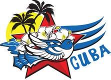 Símbolo da liberdade e da liberdade - pássaro cubano azul, estrela vermelha, flores, ilustração royalty free