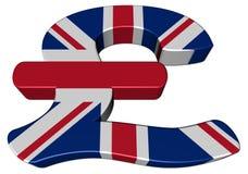 Símbolo da libra britânica com bandeira ilustração do vetor