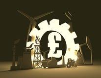 Símbolo da libra e ícones industriais Fotos de Stock Royalty Free