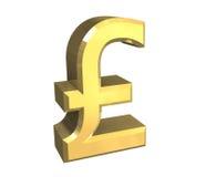 Símbolo da libra no ouro (3D) Fotos de Stock
