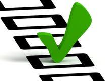Símbolo da lista de verificação, cor verde Fotografia de Stock Royalty Free