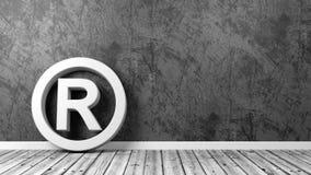 Símbolo da marca registrada no assoalho com espaço da cópia Fotografia de Stock Royalty Free