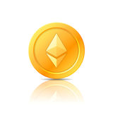 Símbolo da moeda de Ethereum, ícone, sinal, emblema Ilustração do vetor Imagens de Stock