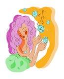 Símbolo da mulher com flor Imagens de Stock