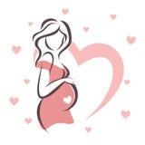 Símbolo da mulher gravida Imagens de Stock