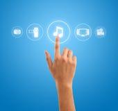 Símbolo da nota da música da pressão de mão dos ícones dos media Imagens de Stock Royalty Free