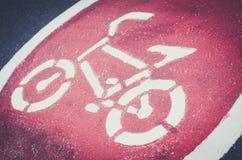 Símbolo da pista da bicicleta Fotografia de Stock