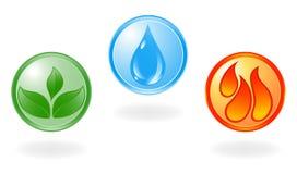 Símbolo da planta, da água e de incêndio. ilustração royalty free