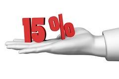símbolo da porcentagem de 15 vermelhos Fotos de Stock Royalty Free