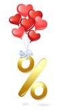 Símbolo da porcentagem do ouro Imagens de Stock Royalty Free