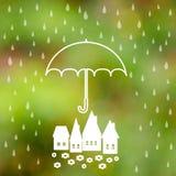 Símbolo da proteção do guarda-chuva das gotas da chuva Fotos de Stock Royalty Free