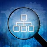 Símbolo da rede na lupa Imagens de Stock
