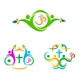 Símbolo da religião com povos Imagem de Stock Royalty Free
