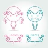 Símbolo da senhora e do cavalheiro O toalete assina caçoa dentro o estilo bonito Imagens de Stock Royalty Free