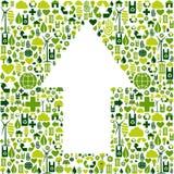 Símbolo da seta em ícones do cuidado do ambiente Fotos de Stock