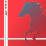 Símbolo da silhueta do cavalo do Natal do ano novo 2014 Fotos de Stock Royalty Free