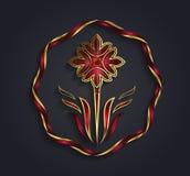 Símbolo dado forma flor do ouro do gráfico de vetor Imagens de Stock