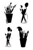 símbolo das escovas de pintura ilustração stock