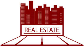 Símbolo de bens imobiliários com lugar para o texto Foto de Stock Royalty Free