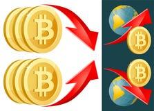 Símbolo de Bitcoin con arriba y abajo de las flechas de la tarifa Foto de archivo libre de regalías