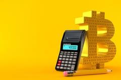 Símbolo de Bitcoin con la calculadora y el lápiz Stock de ilustración