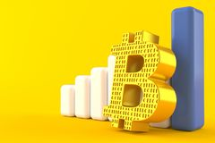 Símbolo de Bitcoin con la carta Stock de ilustración