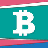 Símbolo de Bitcoin en diseño moderno del material de base stock de ilustración