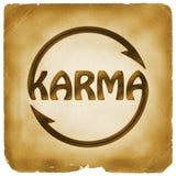 Símbolo de ciclo de la palabra de las karmas en el papel viejo Imagen de archivo