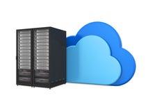 Símbolo de computação da nuvem com cremalheira do servidor ilustração stock