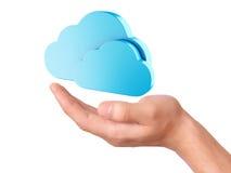 Símbolo de computação da nuvem da posse da mão Imagens de Stock Royalty Free