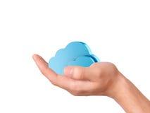 Símbolo de computação da nuvem da posse da mão Fotografia de Stock
