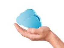 Símbolo de computação da nuvem da posse da mão Imagem de Stock