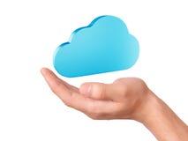 Símbolo de computação da nuvem da posse da mão Foto de Stock Royalty Free