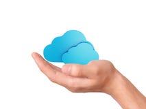 Símbolo de computação da nuvem da posse da mão Imagem de Stock Royalty Free