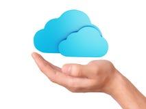 Símbolo de computação da nuvem da posse da mão Fotos de Stock