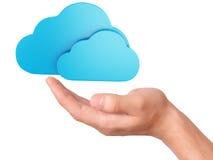 Símbolo de computação da nuvem da posse da mão Foto de Stock