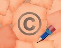 Símbolo de Copyright C y pequeño lápiz con él Foto de archivo