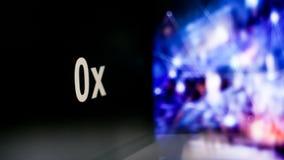 símbolo de 0x Cryptocurrency comportamento das trocas do cryptocurrency, conceito Tecnologias financeiras modernas ilustração royalty free